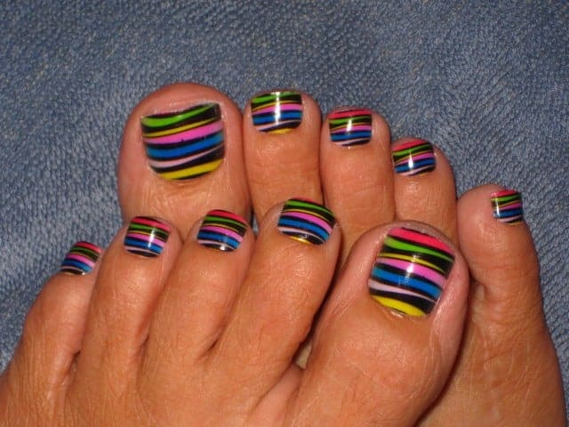 Colorful Toe Nail Design for Valentines Day