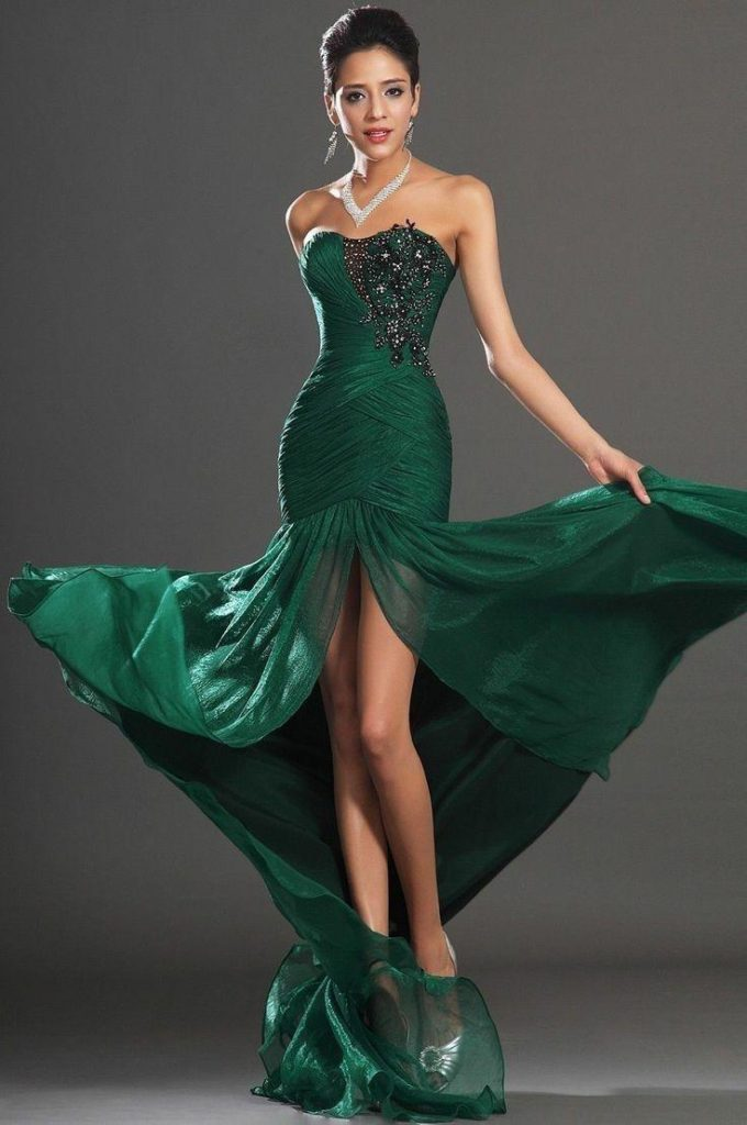 Green Ball Gowns Mermaid Evening Dress