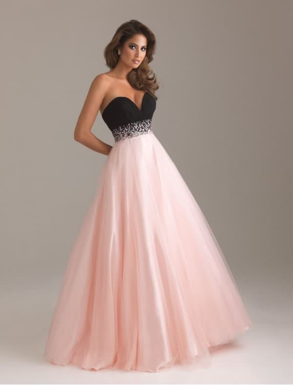 Strapless Neckline Ball Gown Dresses