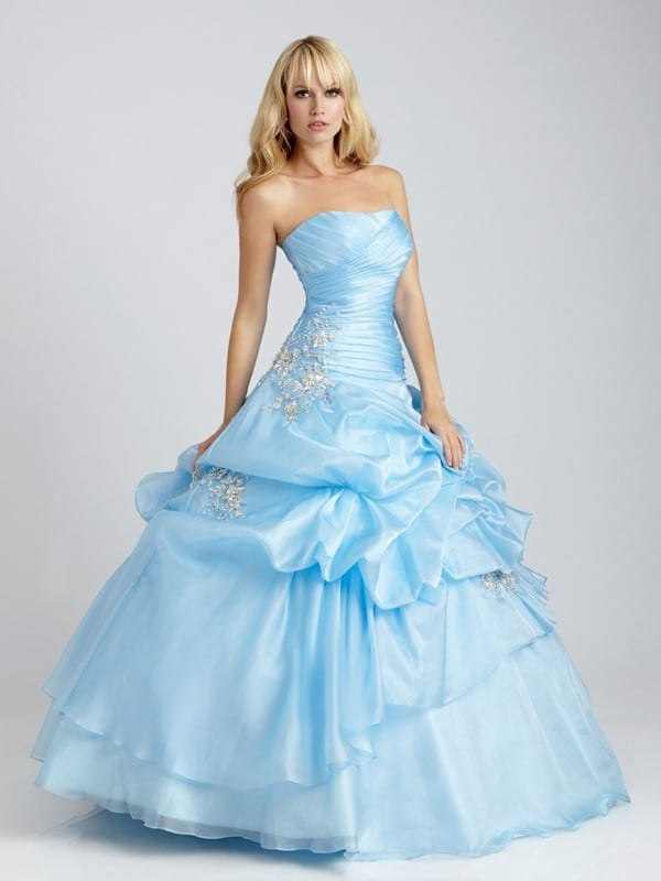 Strapless Ruffles Prom Outfits for Brides