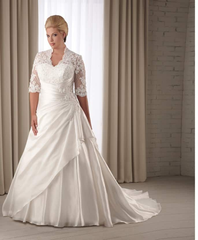 Affordable Plus Size Wedding Dresses with Sleeves