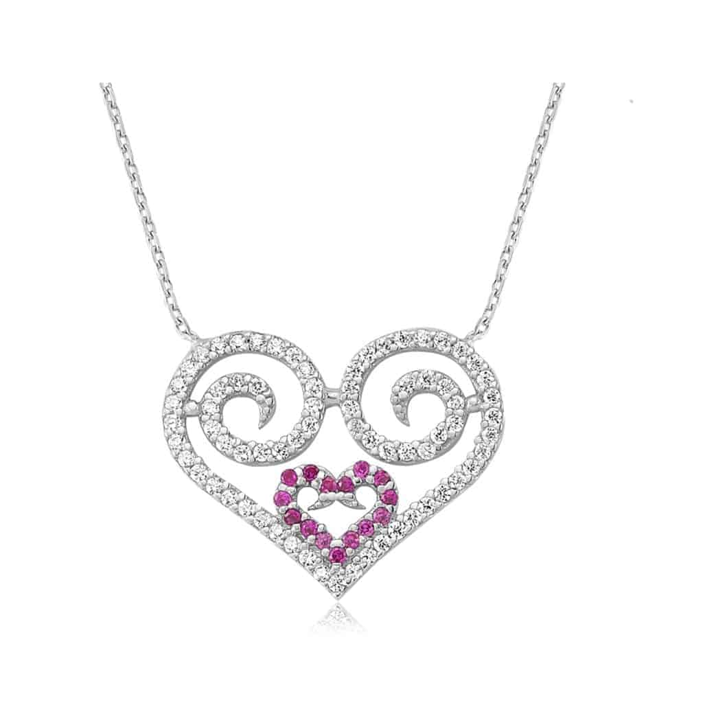 sterling ip amethyst pendant s simulated over shaped cz valentines silver elephant heart valentine gold day necklace white