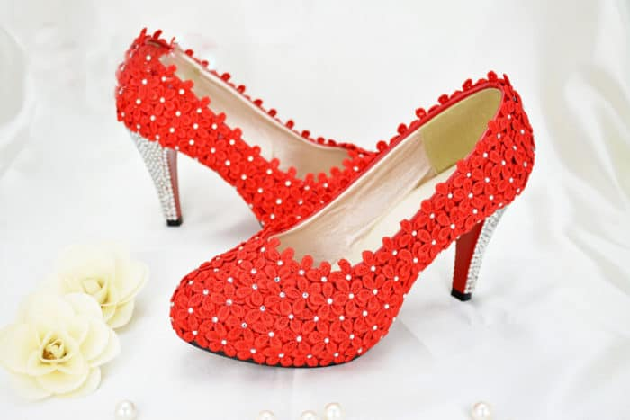Beautiful Red Lace Shoes for Valentines Day 2016