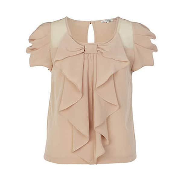 Beige Bow Going Out Tops for Women