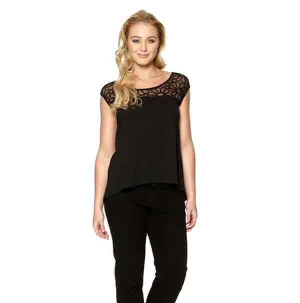 Black Lace Blouses Tops for Women