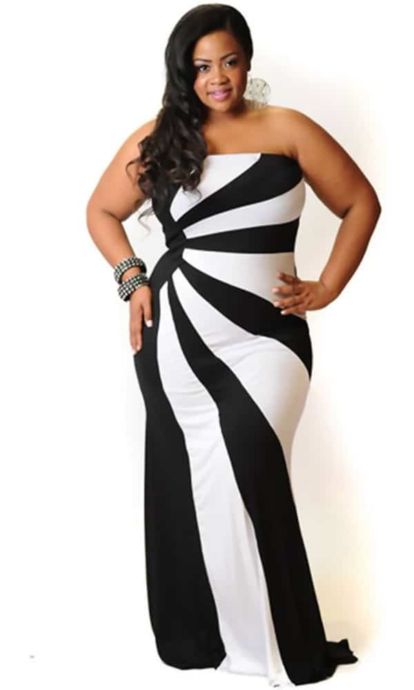 Black and White Cheap Plus Size Clothing