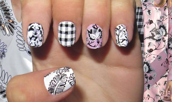 Black and White Spring Nail Art Designs