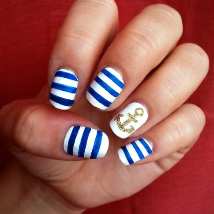 Blue and White Striped and Golden Glitter Nail Art