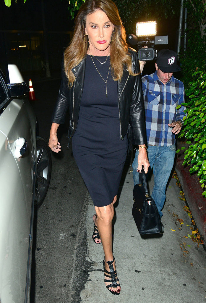 Caitlyn Jenner with Knee-Length Dress and Leather Jacket