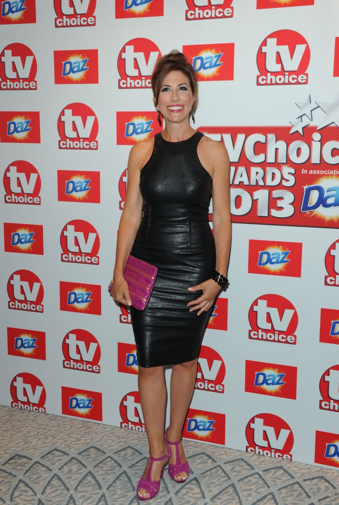 Celebrity Gaynor Faye in Black Leather Dress