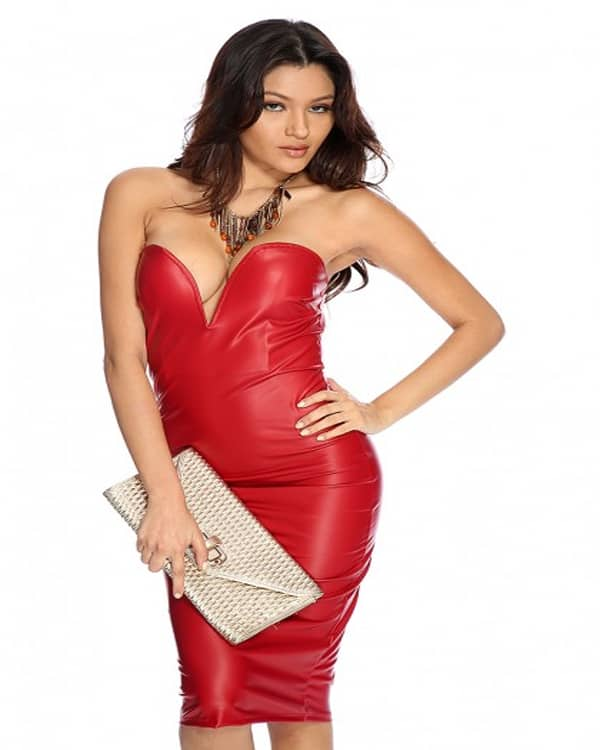 Cool Faux Leather Knee Length Red Dress