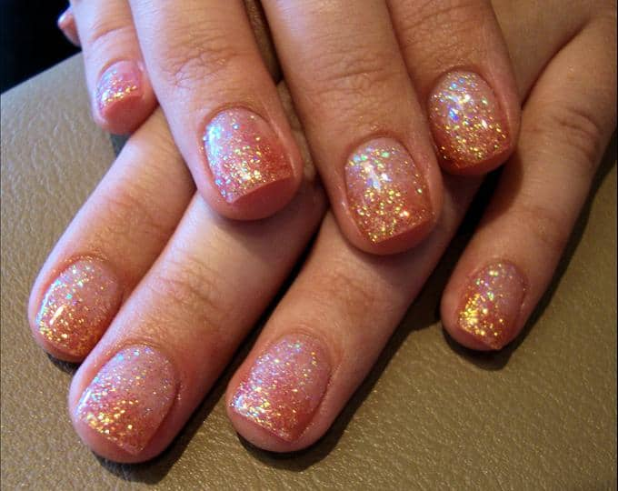 Cool Glitter Faded Gel Nail Designs