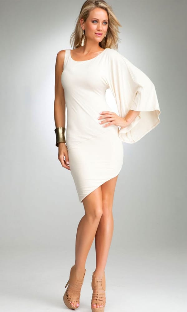 Cool Viscose White Cocktail Dress 2016