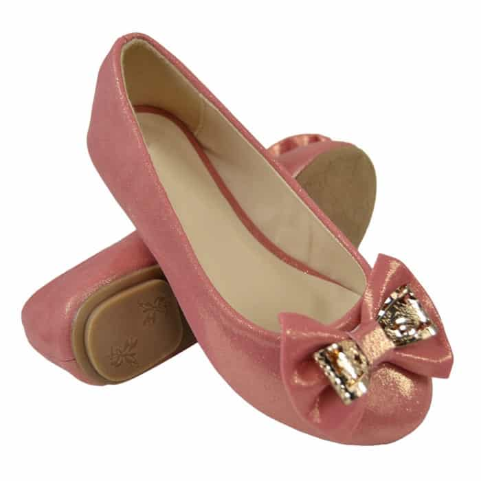 Dressy Shoes With Metal Layered Bow Coral