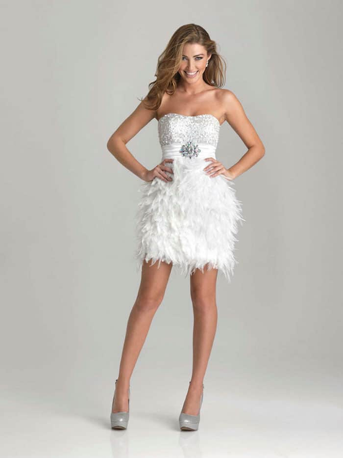 Feather Mini White Cocktail Dress for Girls