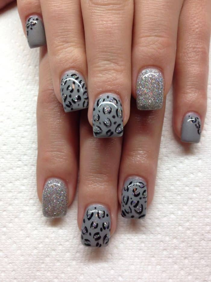 Girls Gel Nails With Hand Drawn Design