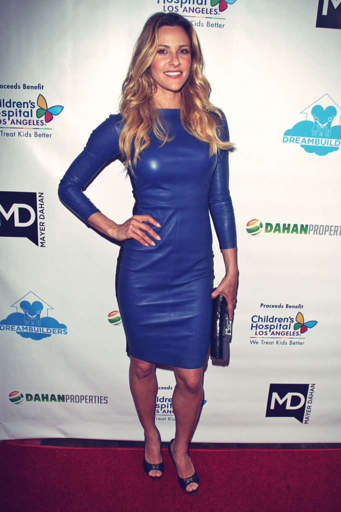Jill Wagner Wear a Blue Leather Dress 2016