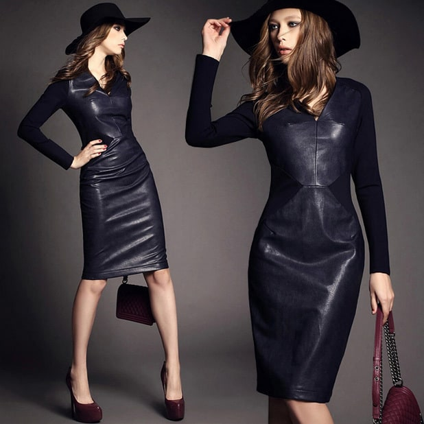 Knitting Cotton Patchwork Leather Dress