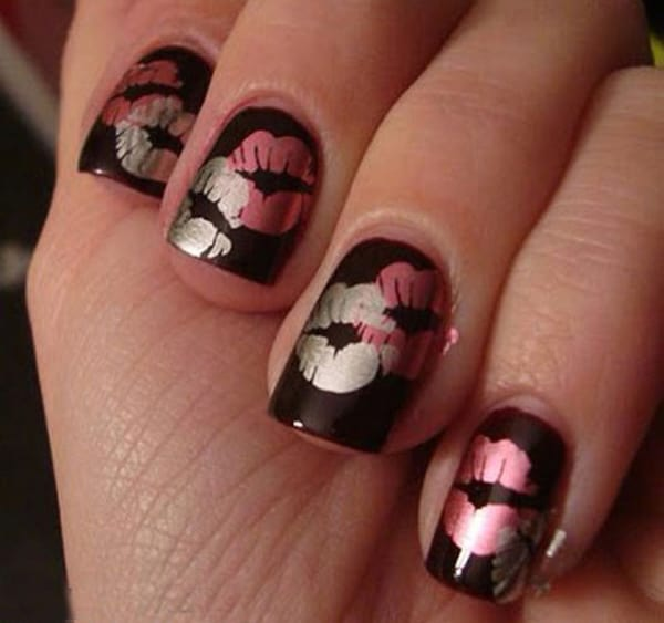 Lips Print Valentine's Day Nails Ideas 2016