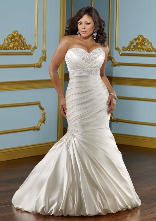 Mermaid Sweetheart Lace up Plus Size Wedding Dress