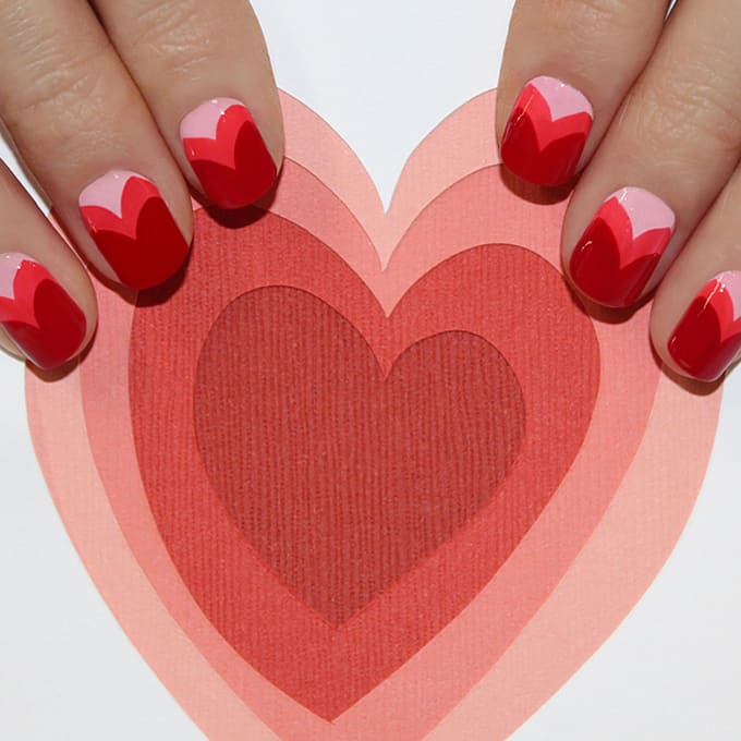 New Valentine's Day Nail Art Design in V Shaped