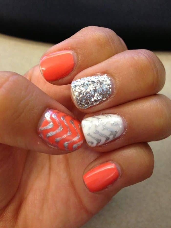 Orange Glitter and Gel Nail Designs