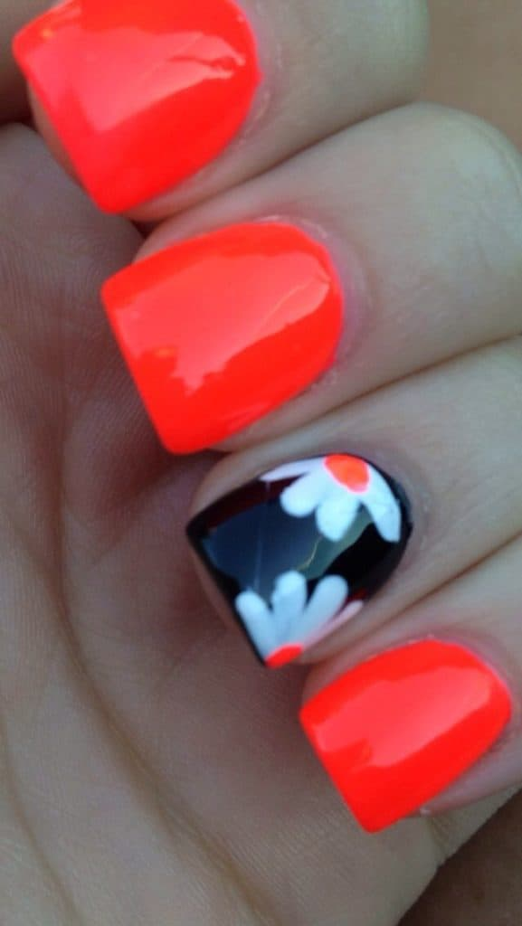Orange Nails With Black Accent Nail