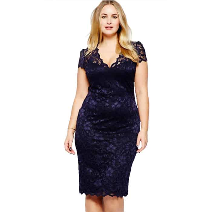 Party Lace Dresses for Plus Size Women