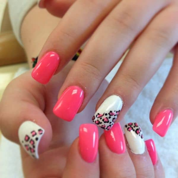 Pink and White Acrylic Nails Designs 2016