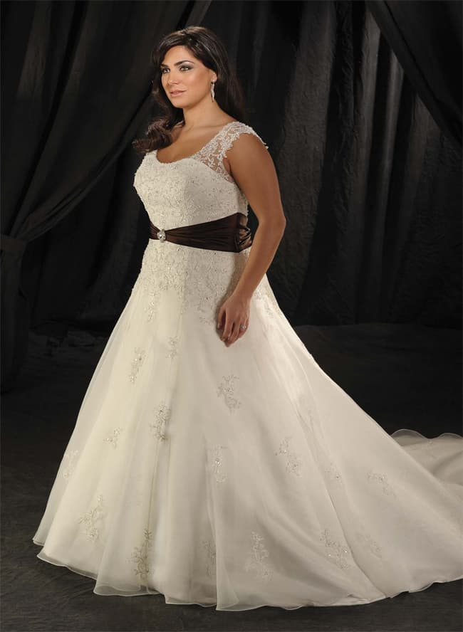 Plus Size Wide Straps Waistband Chapel Train Wedding Dress