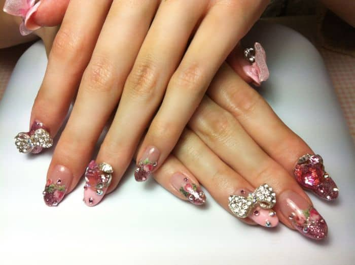 Pretty Acrylic Bows Nail Art Ideas for Girls