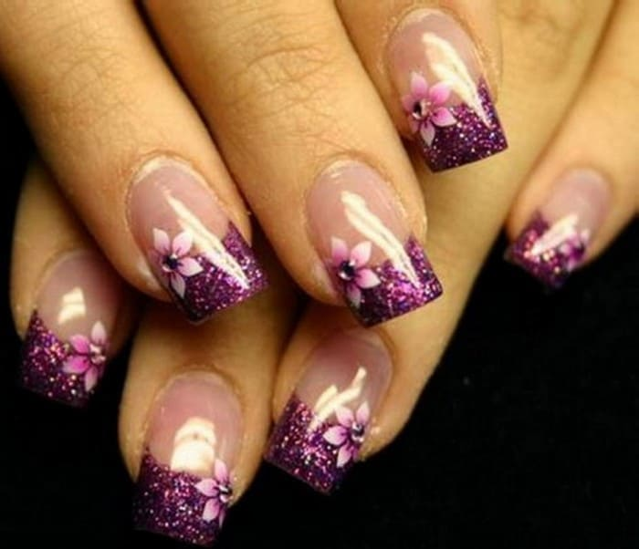 Purple Gel Nail Art for New Year 2016