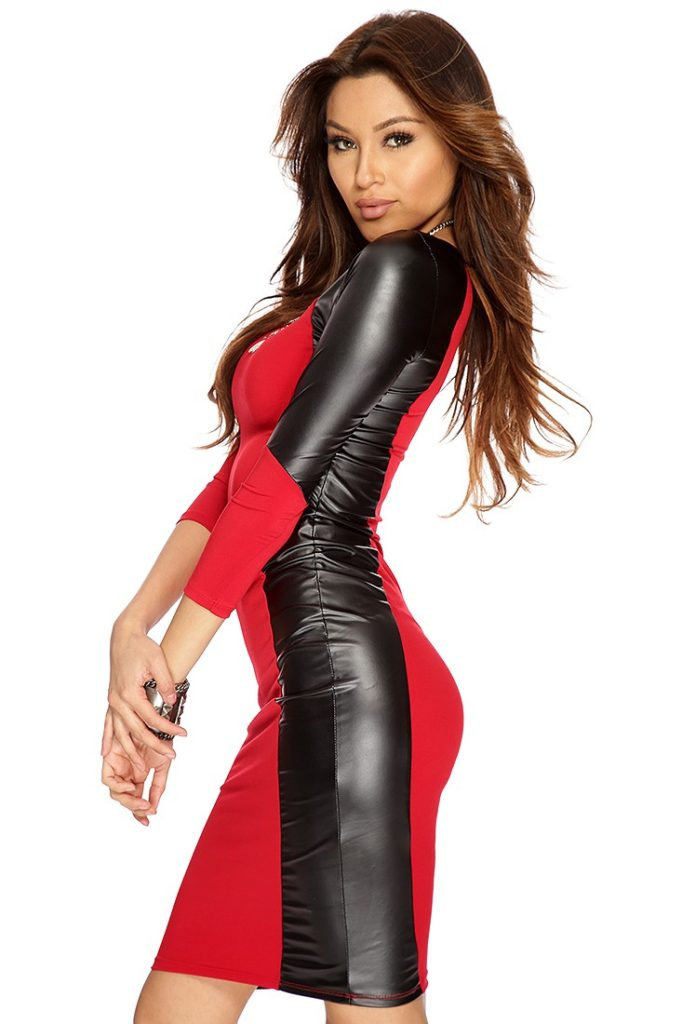 Red and Black Leather Knee Length Dresses