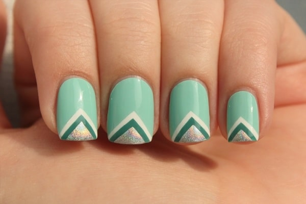 Shimmer and Turquoise Nail Art Picture