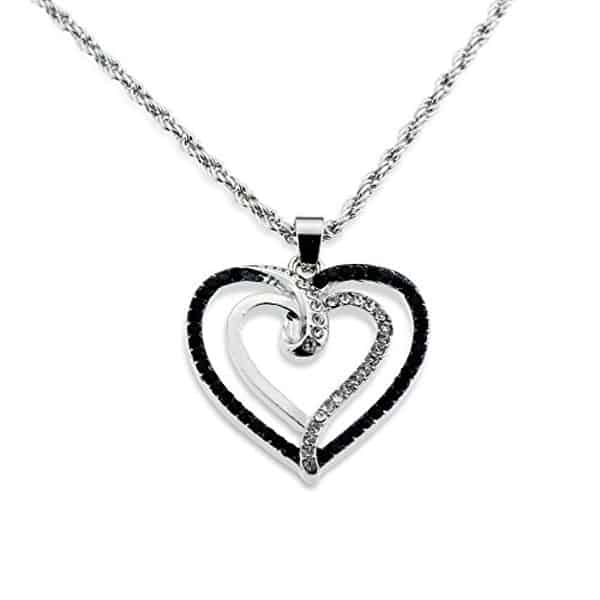 Silver Crystal and Black Necklace for Valentine's Day 2016