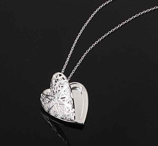 Silver Heart Lover Locket Chain Necklace Gift for Valentines Day