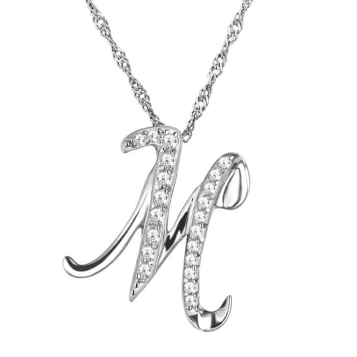 Silver Pendant M Shape Necklace for Women