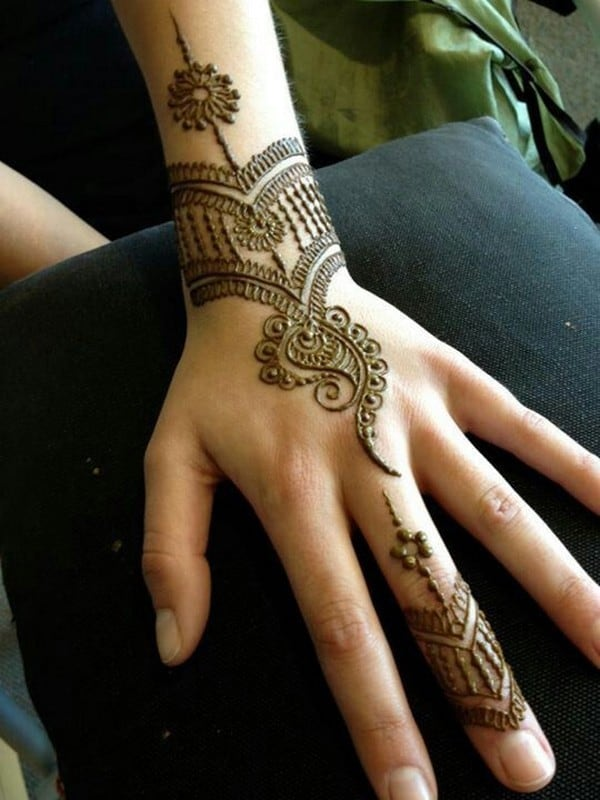 Simple Back Hand Henna Designs for Women