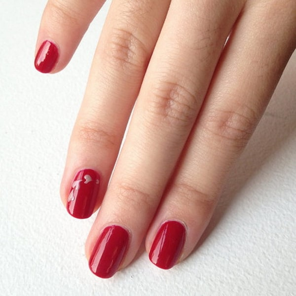 Super Easy Red Nail Designs for Valentine Day 2016