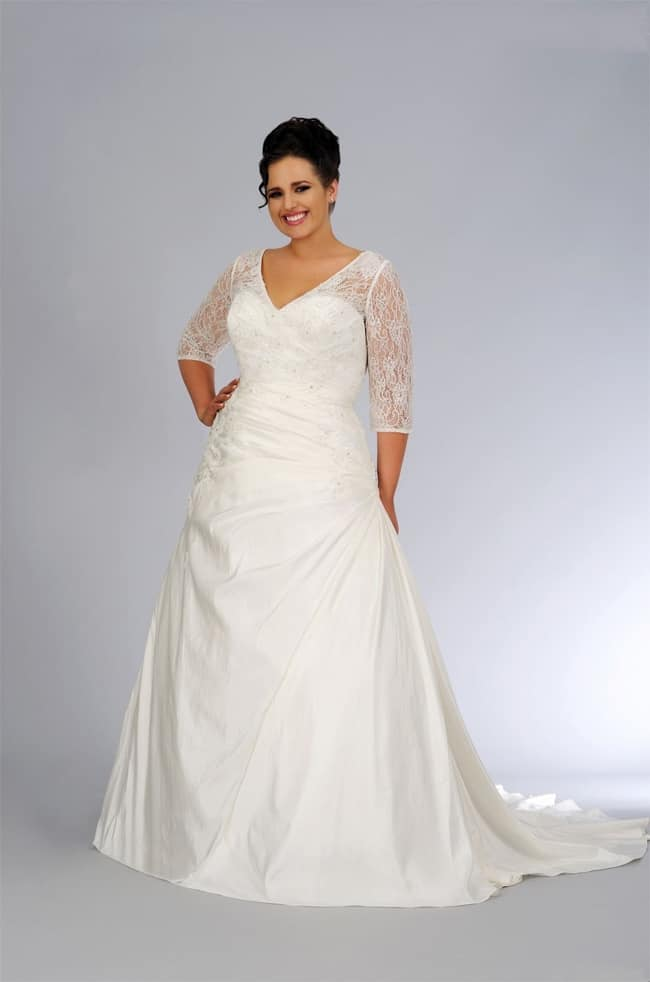 V Neck Satin Plus Size Wedding Dresses 2016