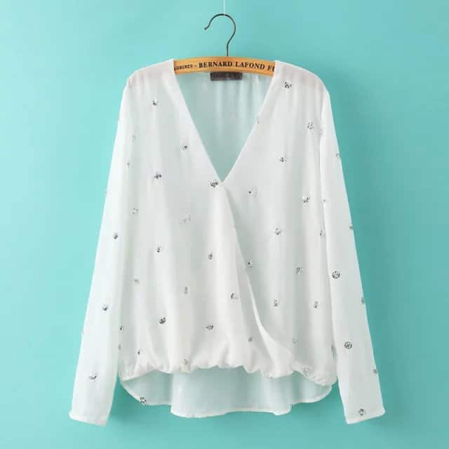 White Chiffon Womens Tops for Evening Party