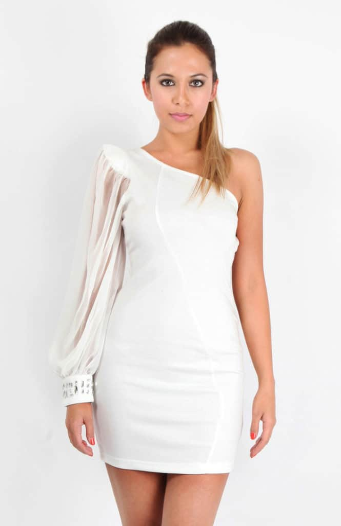 White One Shoulder Cocktail Outfits