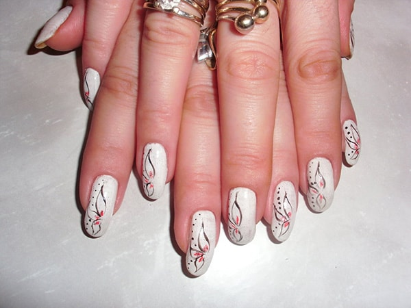 White Petals Art for Long Nails