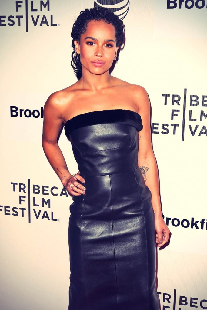 Zoe Kravitz in Leather Knee Length Dress