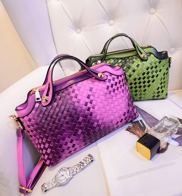 2016 Purple Leather Designer Handbags for Party