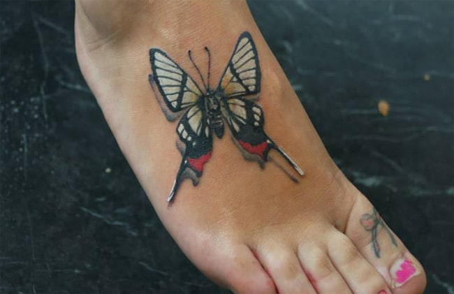 Amazing 3D Butterfly Tattoos on Foot 2016