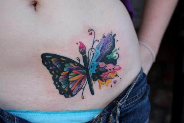 Artistic Butterfly Tattoos on Belly for Women