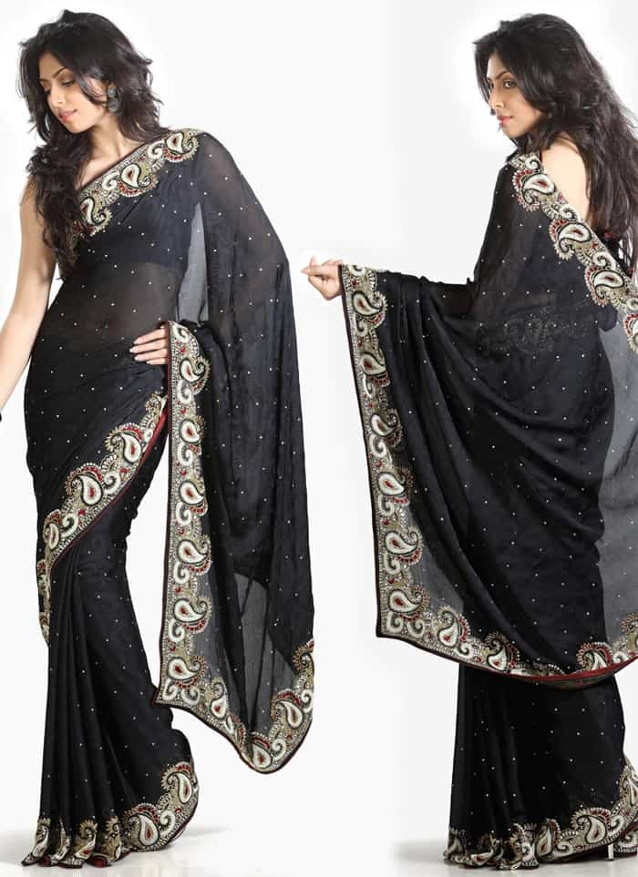 Awesome Black Evening Sarees for Girls 2016