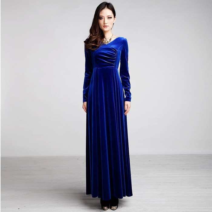 Awesome Long Sleeve Blue Evening Dresses 2016
