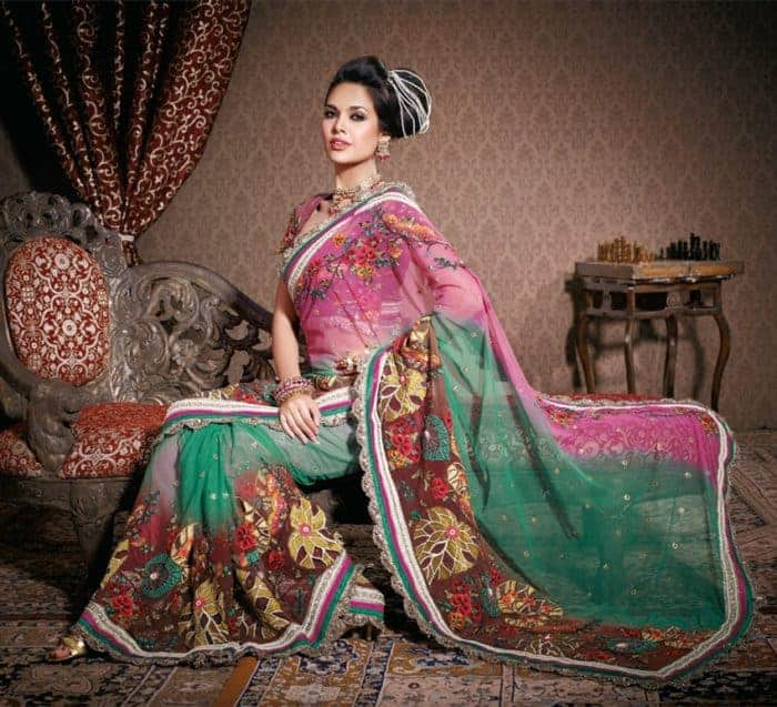 Beautiful Embroidered Sarees for Evening Party 2016